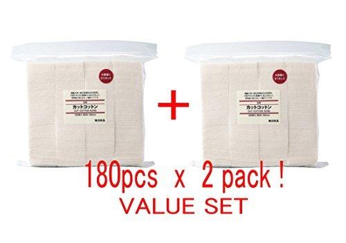 MUJI Makeup Facial Soft Cut Cotton Unbleached 60x50 mm 180pcs2 Packs (Total 360 Sheets) Value Set by Muji -