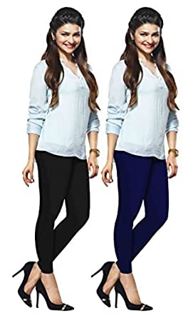 LUX LYRA Women's Cotton Ankle Length Leggings (Black and Royal Blue, Free Size) - Set of 2