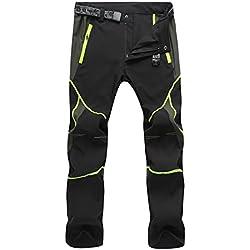 sukutu léger imperméable respirant Quick Dry Randonnée Mountain Pantalon cargo SU001, noir/vert, L
