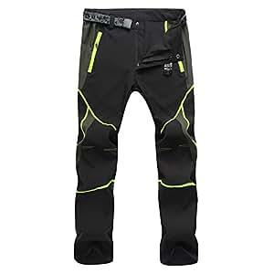 Sukutu Sportswear SU001 - Pantaloni traspiranti, leggeri, impermeabili, si asciugano velocemente, per escursioni in montagna, nero/verde, M
