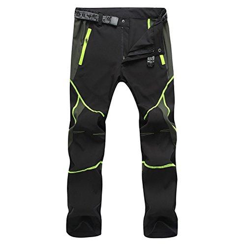 Pantalones deportivos Sukutu SU001 para hombre, ligeros, impermeables, transpirables, de secado rápido, para senderismo, color negro / verde, tamaño large