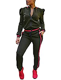 HANMAX Jogging Survêtement Femme Ensemble Deux Pièces Manches Longue Zipper Top + Pantalon Gym Tenue de Sport Yoga Grande Taille
