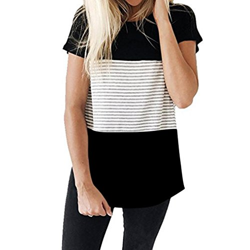 Hevoiok Damen Kurzarm-Shirt Oberteile Sexy Dreifacher Farbblock Streifen Bluse Neu Frühling Sommer T Shirt Frauen Casual Locker Beiläufig Tanktops (Schwarzer A, 2XL)