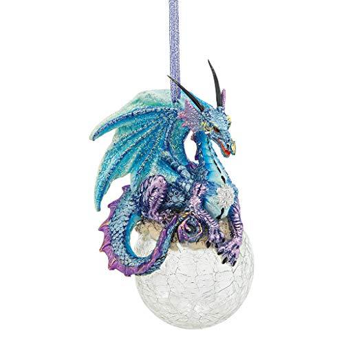 Design Toscano Christbaumschmuck, Frost die gotische Drache-Feiertags-Verzierung - Snowflake Dragon Ball Ornament -