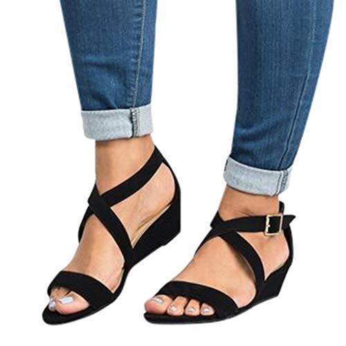 Lucky Mall Frauen Flock Offene Zehen Keil Sandalen, Damen Mode Römische Schuhe Freizeitschuhe Strandschuhe Badesandale Sommer Fischmund ()