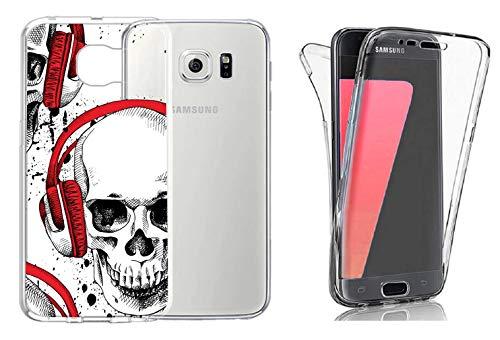 M2 360° Grad Full Body Motiv Silikon hardcase Schutz Hülle TPU Hülle Handy Case Bumper Vorne Hinten Tasche Handyhülle kompatibel mit Samsung Galaxy S7 Edge Dj Totenkopf #0