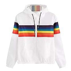 Damen Hoodie Langarm Pullover Kapuzenpulli Outwear Kapuzenjacke Sweatshirt Jacken Regenbogen-Patchwork Jacke Top Sweatshirt Jumper Reißverschluss Mode Outerwear Mantel