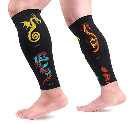 Abstract Religion Dragon Symbols Set Isolated Calf Compression Sleeves Shin Splint Support Leg Protectors Calf Pain Relief for Running, Cycling, Travel, Sports for Men Women (1 Pair)