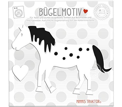 Bügelbild Pferd mit Punkten 14 cm x 10 cm WEISS SCHWARZ (Reiten-traktor Für Kinder)