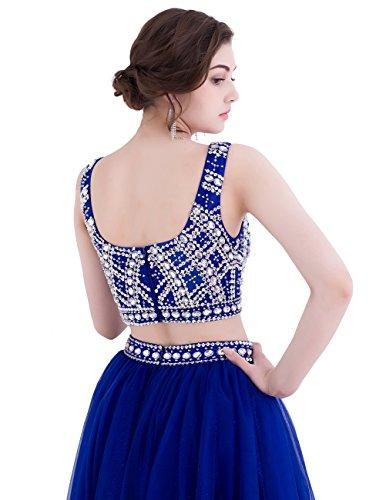 Dresstells Robe longue de cérémonie Robe de bal deux pièces emperlée en tulle Bleu