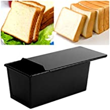 Ballylelly Recubrimiento antiadherente Rectángulo Pan Pan Pastelería Caja de la lata Diseñado con tapa deslizante Horno