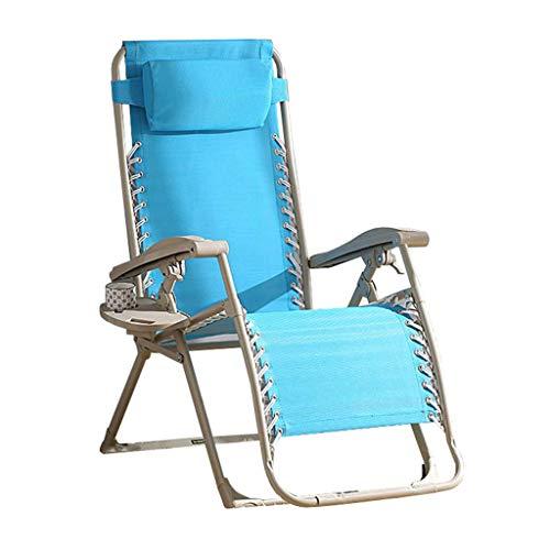 Chaise inclinable Pliante Zero Gravity Deck Chairs Garden Beach Chaises Longues Relaxer Fauteuil avec Porte-gobelets Bleu
