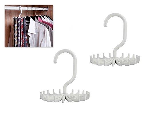 FGF cinturón cuello Tie Holder con 20ganchos rotación de 360grados gira corbatero, color blanco, 2unidades