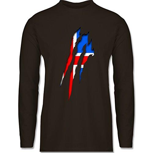 Länder - Island Krallenspuren - Longsleeve / langärmeliges T-Shirt für Herren Braun