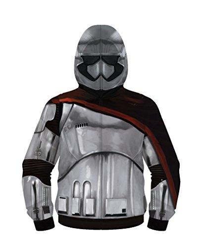 Star Wars Captain Phasma Mens Poly Zip Up Costume Hoodie (Adult - Mad Engine Kostüm Hoodies