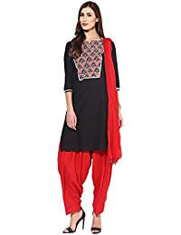 Jaipur Kurti Pure Cotton Complete Set Of Black Kurta And Red Patiala Dupatta