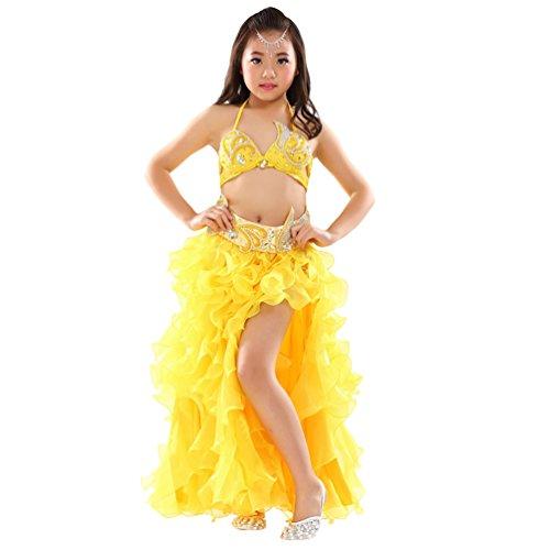 (Xinwcang Mädchens Kleid Bauchtanz Kostuem Top + Rock Set Tanzkostüme Halloween Karneval Kostüme Gelb (3PC) One Size)