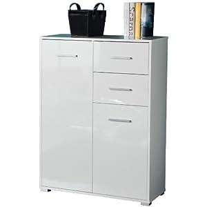 Mobiletto due ante e un cassetto colore laccato bianco - Emporio del mobile in kit ...