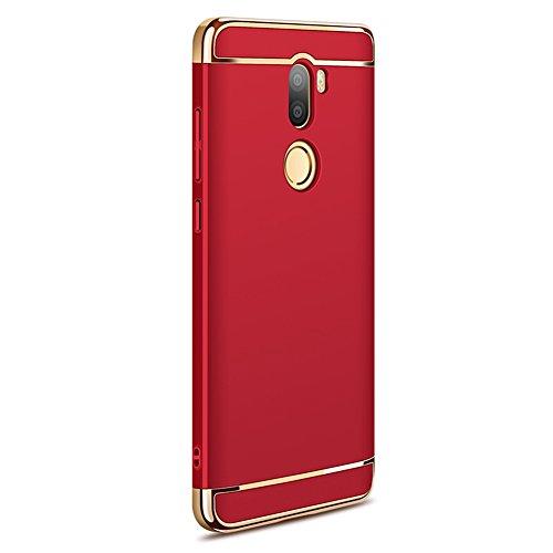 Xiaomi Mi 5s Plus Hülle, MSVII® 3-in-1 Design PC Hülle Schutzhülle Case Und Displayschutzfolie für Xiaomi Mi 5s Plus (Nicht mit Xiaomi Mi 5s kompatibel) - Gold JY50118 Rot