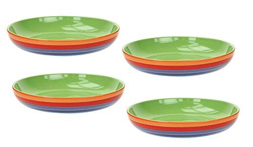 Set mit 4 hellen, verspielten Pasta-Schalen aus Keramik mit Regenbogen-Streifen von Windhorse, 22cm (Pasta-schalen-set)
