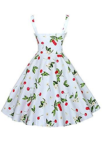 MISSEUROUS Damen Mode Blumendruck Süß Schlank 1950er Cocktail Vintage-Tee Kleid Weiß