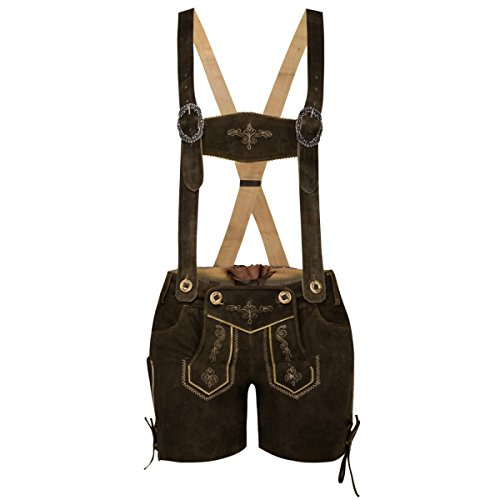 kurze Lederhose in braun von Marjo Trachten, Größe:42;Farbe:Braun