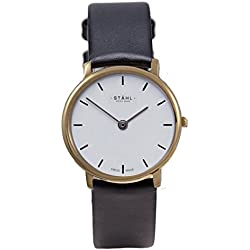 Stahl SWISS MADE Wrist Watch Model: ST61377 - Stainless Steel - Extra Large 36mm Case - Bar White Dial