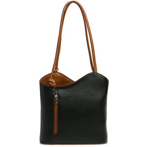 CASPAR TL720 2in1 Rucksack Handtasche Daypack aus echtem Leder, Farbe:schwarz-cognac;Größe:One Size -