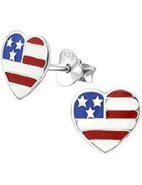 Laimons Pendientes para mujer Corazón con bandera de EE.UU. Rojo, Blanco, Azul Plata de ley 925