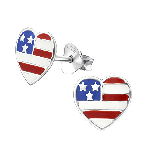 Laimons Damen-Ohrstecker Herz-Flagge USA Sterling Silber 925