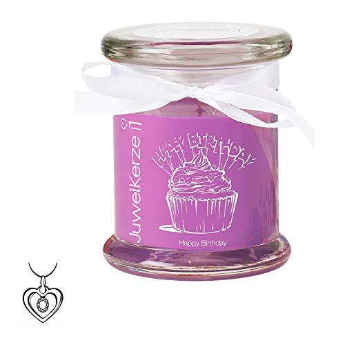 """JuwelKerze\""""Happy Birthday - Duftkerze mit Schmuck Überraschung - Geburtstagsgeschenk (Silber Charm, Duft nach Karamell und Cupcake)"""