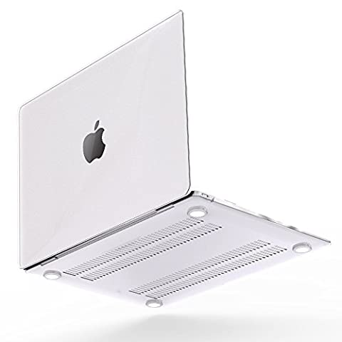 iBenzer - Soft-Skin Smooth Finish Plastic Hard Case Cover for Macbook 12'' Retina Display (A1534) NO CD-ROM [Gold, Space Gray, Silver], Clear