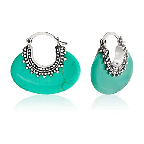 Sterling Silver Bali Style Synthetic Turquoise Hoop Earrings (1 Oval-türkis-armband)