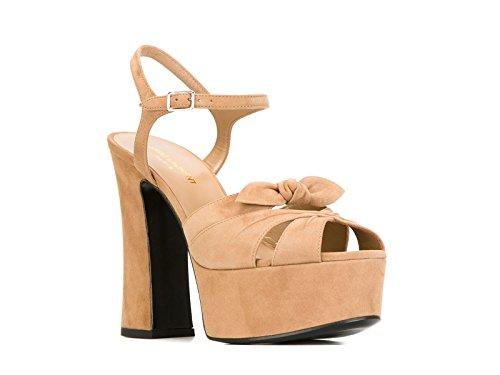 Sandales à plateforme Saint Laurent en daim beige - Code modèle: 384977 C2000 2748 Beige