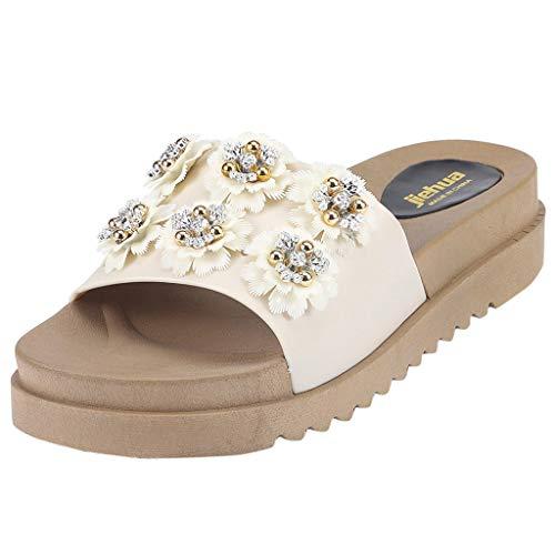 alen Damen Wild Sandalen mit dickem Sohlen Blumen Set Toe Wear Rutschfeste Hausschuhe(39,Weiß) ()
