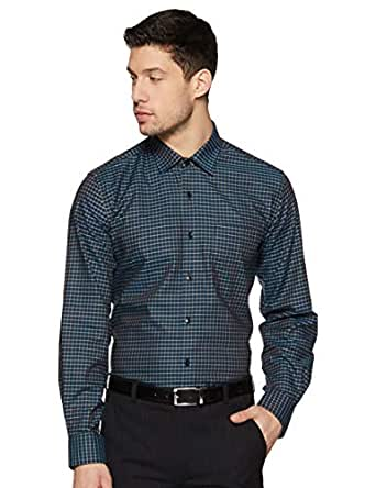 Louis Philippe Men's Checkered Slim fit Formal Shirt (LPSFMSLFF16340_Navy 40)