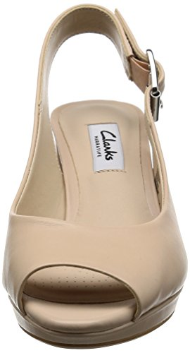 Clarks Women's Kelda Spring Wedge Heels Sandals, Beige (Nude Leather), 7.5 UK