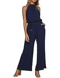 Femme été 2018 Fluide Chic Grande Taille Titulaire Cou accrochant Uni  Pantalon Cigare - Pantalon Court - Dames… 0540095c8cf