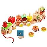 Lewo Eisenbahn Holz mit Steck-Formen Nachziehspielzeug Ziehspielzeug Holzspielzeug Lernspielzeug für Kinder Kleinkind mit 27 Bausteinen