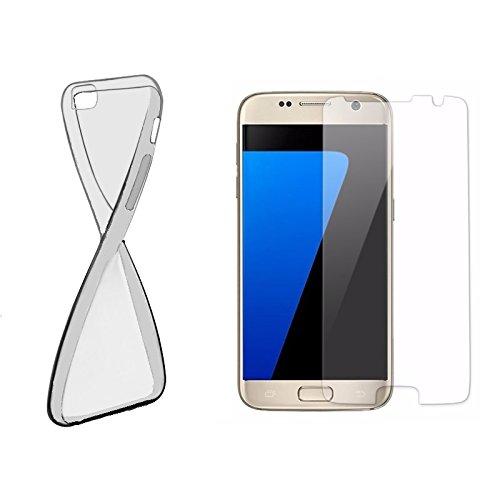 Schutzhülle und Panzerglas als Set TPU Case Silikon Hülle Schutz Cover Transparent mit Panzerglas Schutzfolie Glasfolie von ZhinkArts für Samsung Galaxy S4