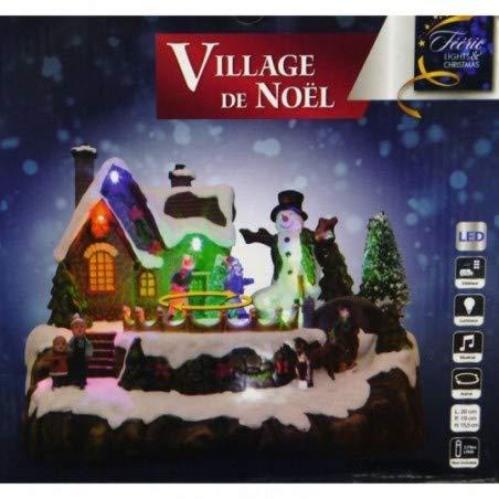 Village de Noël Patineurs animé, Lumineux et Musical