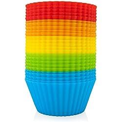 GOURMEO - 25 moldes para muffins en 5 colores de silicona reutilizable, permanente, bueno para el medio ambiente | 2 años de garantía de satisfacción | moldes para cupcakes, moldes para el horno