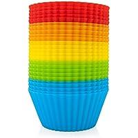 GOURMEO - 25 formine per muffin riutilizzabili in 5 colori, in silicone di alta qualità | 2 anni di garanzia di soddisfazione | formine per muffin e cupcake, forma per muffin, stampo per cupcake e muffin, stampini da forno, forme per muffin ecologiche