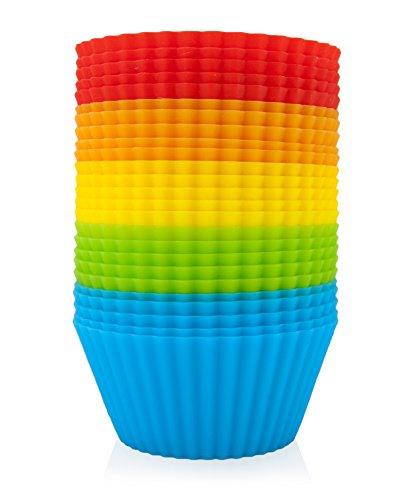 GOURMEO 25 Muffinförmchen in 5 Farben, wiederverwendbar, hochwertiges Silikon, umweltschonend | Cupcakeförmchen, Backförmchen, Cupcake Muffinform