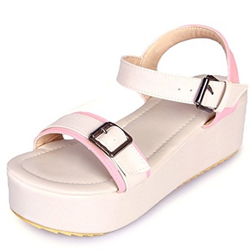 RizaBina Femmes Mode Bout Ouvert Sandales Compensees Plateforme Slingback Ete Chaussures 788 Rose
