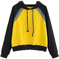Geili Sweatshirt Damen,Frauen Mode Color Block Patchwork Langarm Kordelzug Hoodie Sweatshirt Pullover Tops Kapuzenbluse... preisvergleich bei billige-tabletten.eu