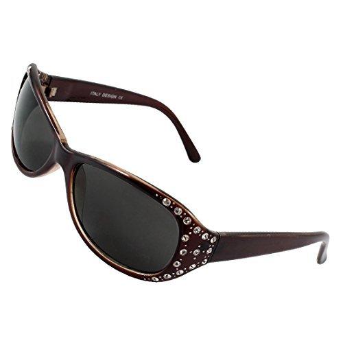 DealMux Ladies Klar Strass Akzent Intarsien Schwarz Gläser Dark Brown Sonnenbrille -
