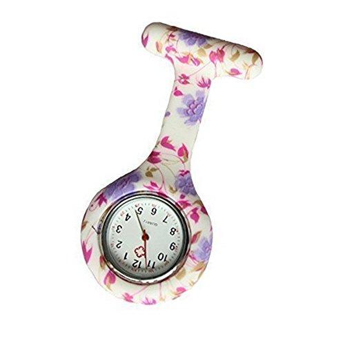Blumen-Druck 1 Krankenschwestern Silikon Tunika Brosche Taschenuhr Boolavard® TM