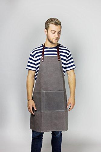 Apronize David Spencer Schürze | Apron in grau aus 100% Baumwolle inkl. Neckholder mit Lederriemen für Gastronomie oder Haushalt für Männer und Frauen, unisex -