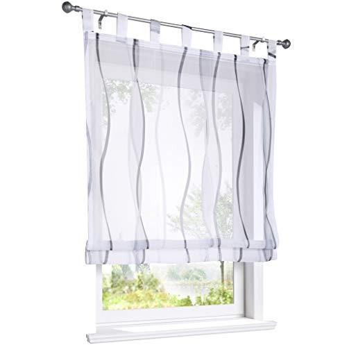 ESLIR Raffrollo mit Schlaufen Gardinen Küche Raffgardinen Transparent Schlaufenrollo Vorhänge Mit Wellen-Druck Modern Voile Grau BxH 120x140cm 1 Stück